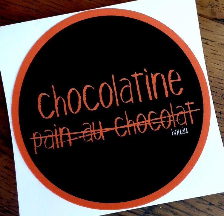 sticker autocollant boudu chocolatine