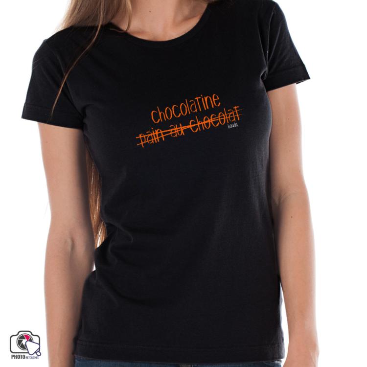 """T-shirt boudu Femme """"chocolatine - pain au chocolat"""""""