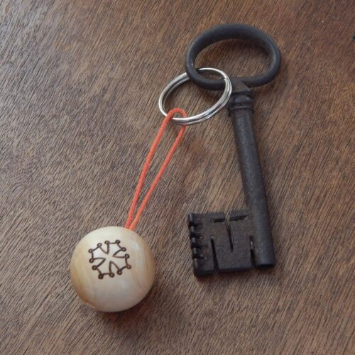 """Porte-clés boudu cochonnet """"croix occitane"""""""