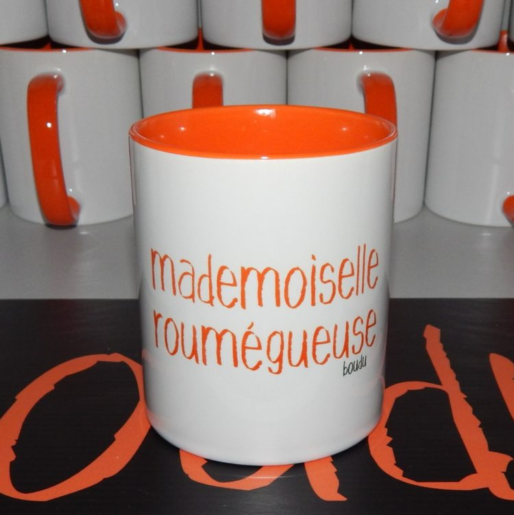 """Tasse bicolore boudu """"mademoiselle roumégueuse"""""""