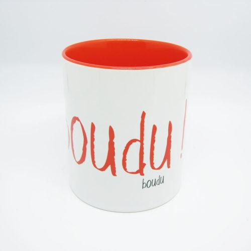 "Tasse bicolore ""boudu !"""