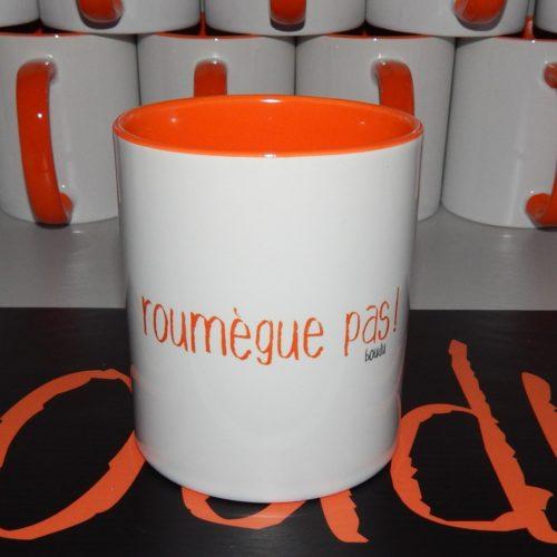 """Tasse boudu bicolore """"roumègue pas !"""""""