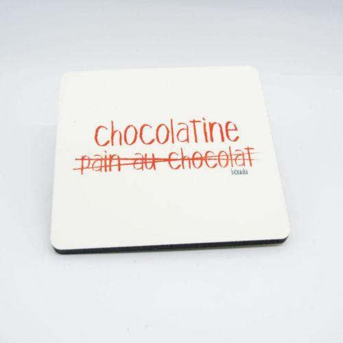 """Sous-verre bois/liège carré """"Chocolatine"""""""