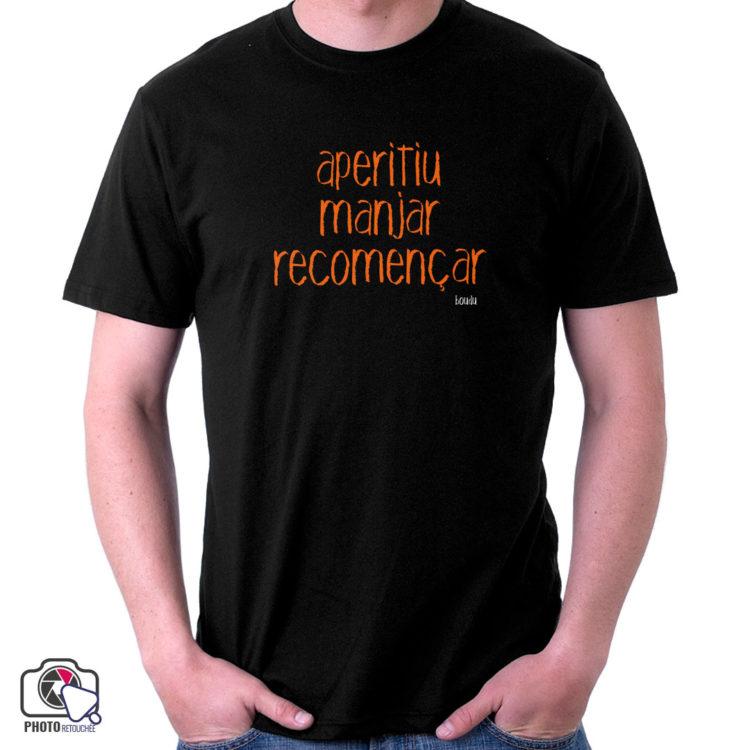 """T-shirt Homme """"aperitiu manjar recomençar"""""""